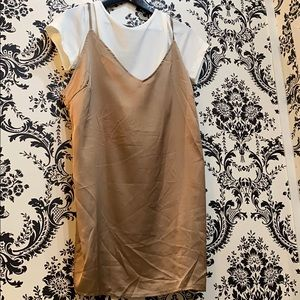Silky shift dress with detachable tee
